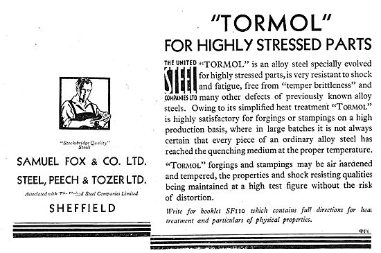 Samuel Fox Tormol Steel For Highly Stressed Aircraft Parts