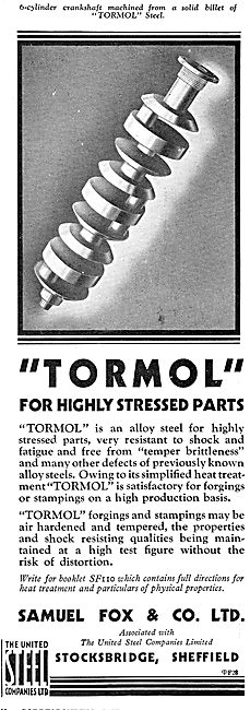 Samuel Fox - Tormol Alloy Steel For Highly Stressed Aircraft Part