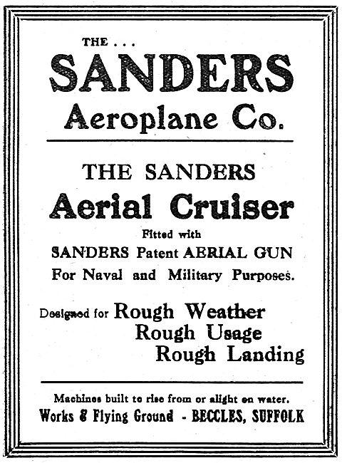 The Sanders Aeroplane Co: The Sanders Aerial Cruiser & Aerial Gun