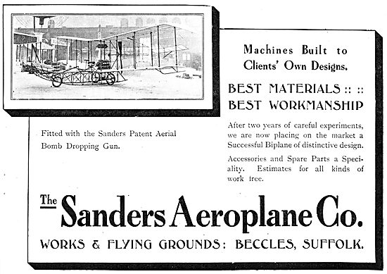 Sanders Biplane 1911. Patent Aerial Bomb Dropping Gear