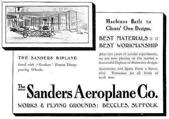Sanders Biplane 1911. Sanders Patent Disappearing Wheels