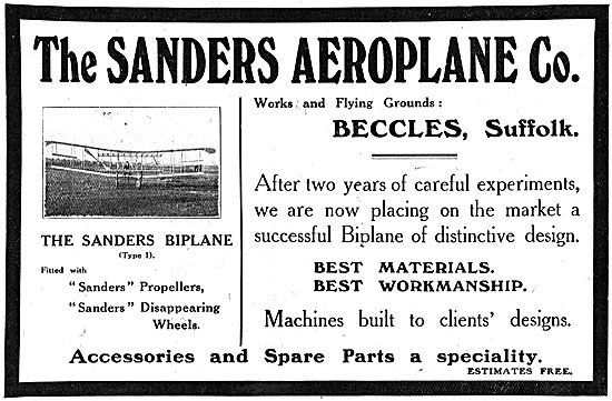 The Sanders Aeroplane Co Beccles Suffolk