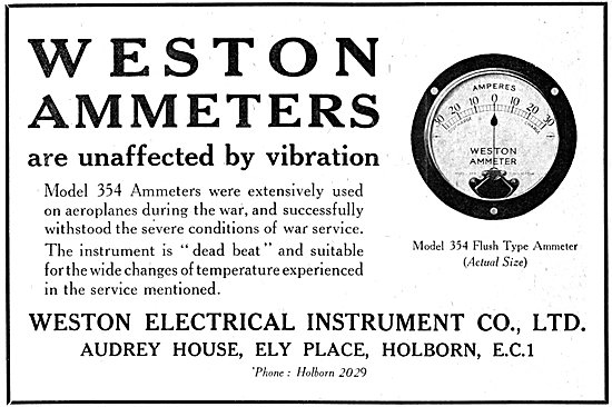 Weston Electrical Instruments Weston 354 Flush Type Ammeter 1921