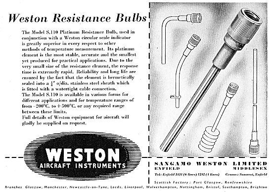 Sangamo Weston. Weston Aircraft Instruments. Bulbs