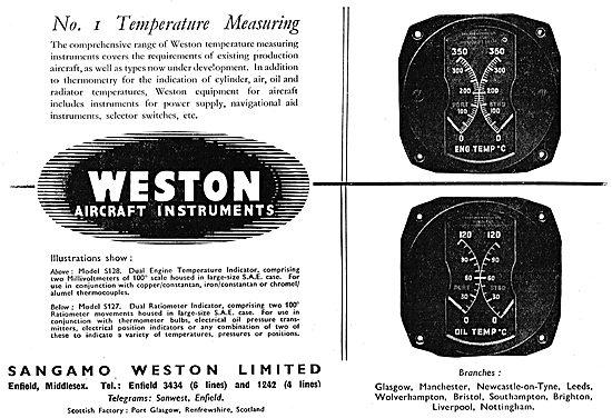 Sangamo Weston. Weston Aircraft Instruments - Temperature Gauges