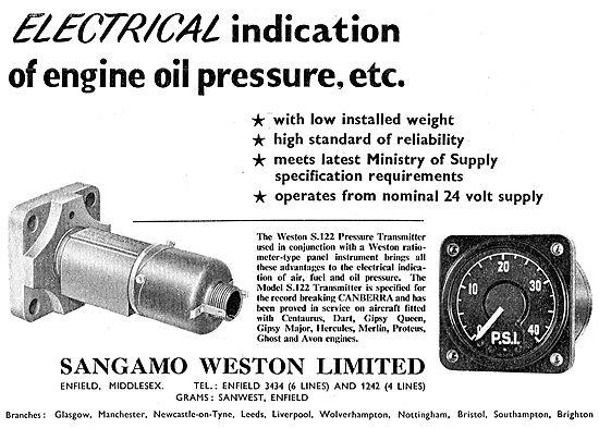 Sangamo Weston. Weston Aircraft Instruments - Oil Pressure Gauge