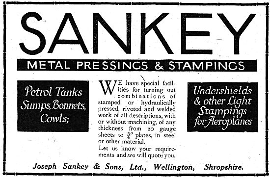 Sankey Pressings & Stampings For Aeroplanes