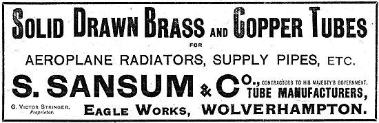 S.Sansum & Co - Barss & Copper Tubes For Aero Engine Radiators