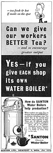 Santon Electric Water Boilers For Canteens 1942 Advert