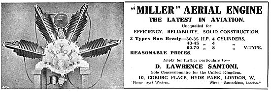 The Miller Aerial Engine - 30-70 HP. V Type Engines
