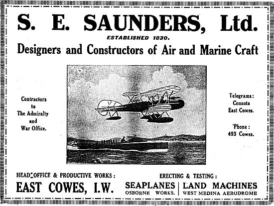 S.E. Saunders  - Constructors Of  Air & Marine Craft