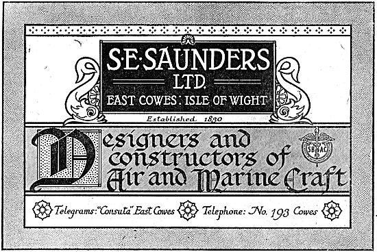 S.E. Saunders  - Aircraft Constructors. East Cowes Isle Of Wight