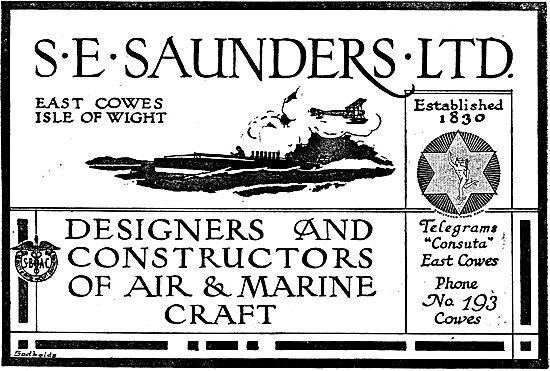 S.E. Saunders. Est 1830  - Designers & Constructors Of  Aircraft