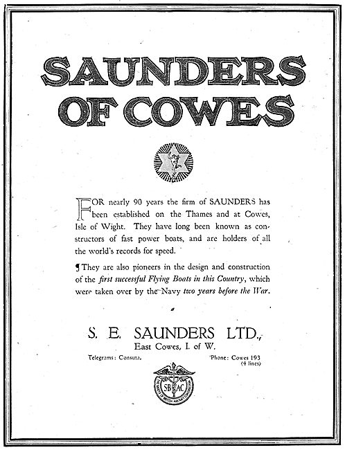 S.E. Saunders. Cowes  - Designers & Constructors Of  Aircraft