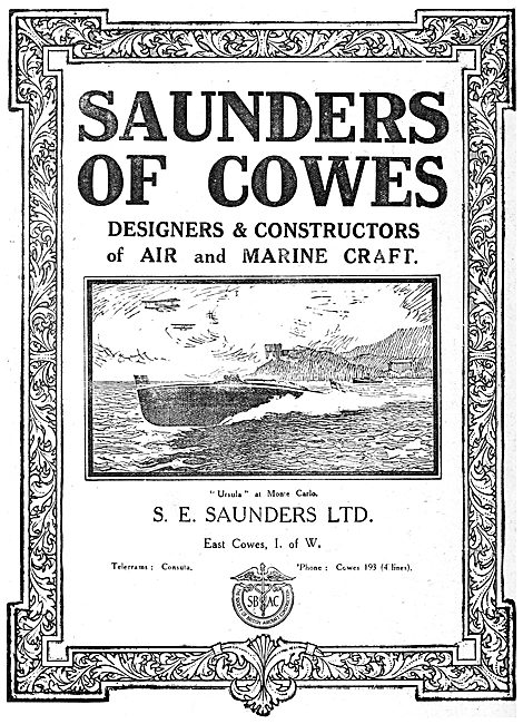S.E. Saunders  - Constructors Of  Aircraft & Marine Craft