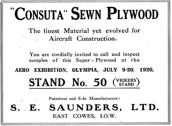 S.E. Saunders  - Consuta Sewn Plywood For Aircraft Construction
