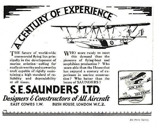 S.E. Saunders  - Pioneers Of Flying Boat & Amphibian Production