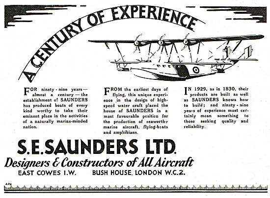 S.E. Saunders Aircraft - Since The Earliest days Of Flying