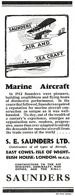 S.E. Saunders  - Pioneers In Marine Aircraft Construction