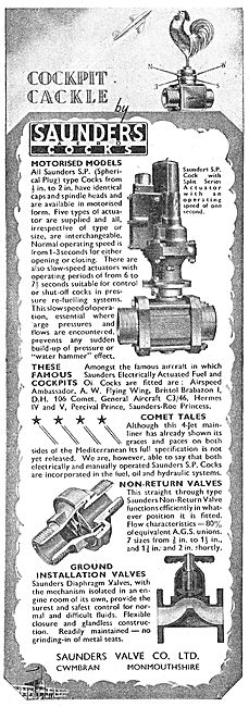 Saunders Valves & Cocks For Aircraft Fluids And Gases