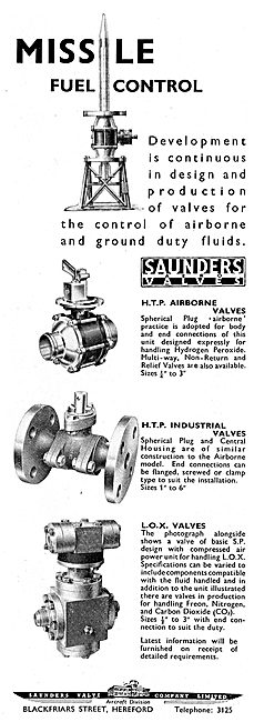 Saunders HTP Airborne Valves For Missile Systems