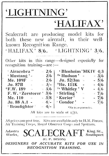 Scalecraft  Model Aircraft  Kits - Recognition Range 1942