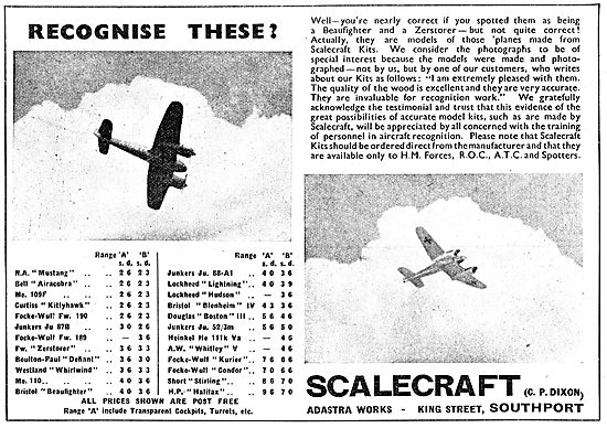 Scalecraft  Model Aircraft  Kits - Recognition Range