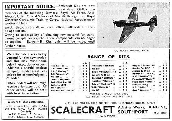 Scalecraft Aircraft Model Kits. Official Recognition Kits