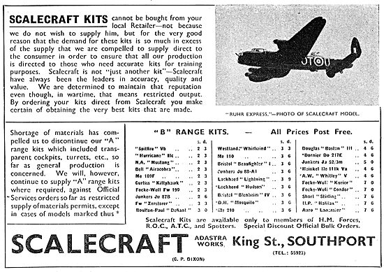 Scalecraft Aircraft Model Kits. Official Recognition Kits 1943