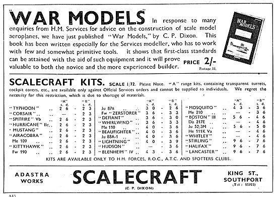 Scalecraft Aircraft Model Kits. Official War Model Kits 1943