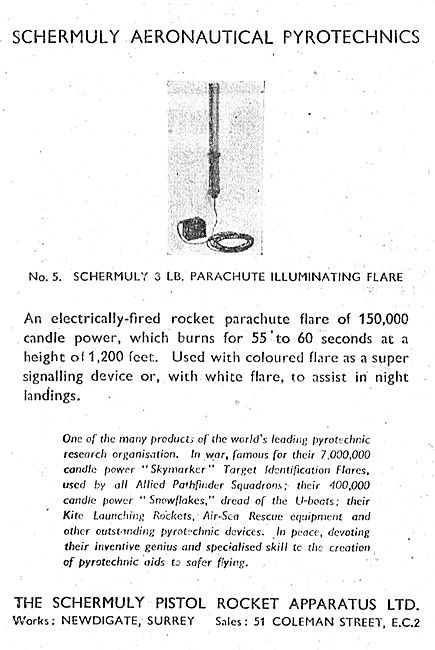 Schermuly Pyrotcehnics - 3LB  Parachute Illuminating Flare