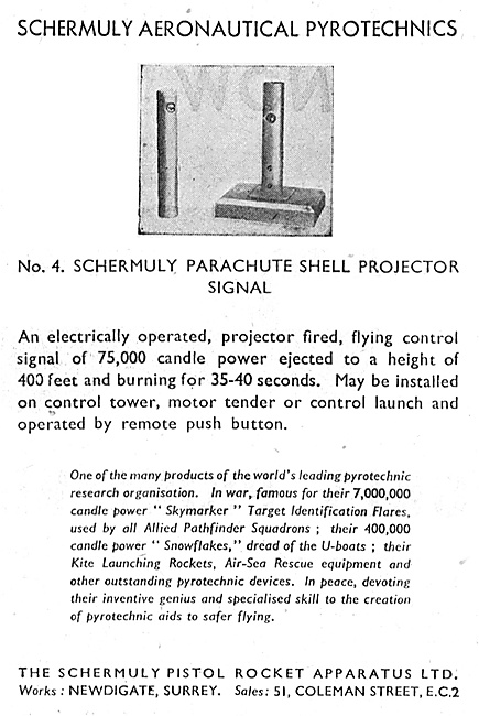Schermuly Pyrotcehnics - Parachute Shell Projector Signal
