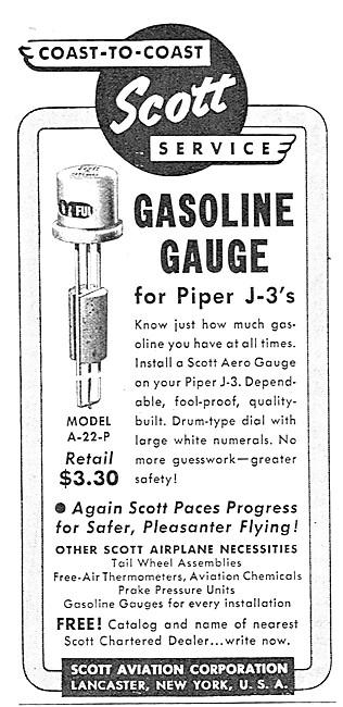Scott Fuel Gauge For Piper J-3 Cubs