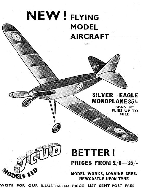 Scud Flying Model Aircraft - Silver Eagle Monoplane