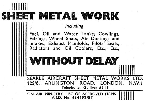 Searle Aircraft & Sheet Metal Works. Arlington Rd. NW1. 1942
