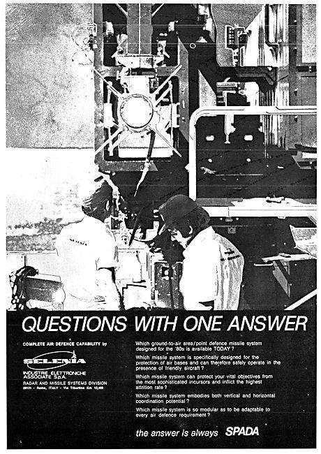 Selenia SPADA Defence Missile & Radar Systems 1977