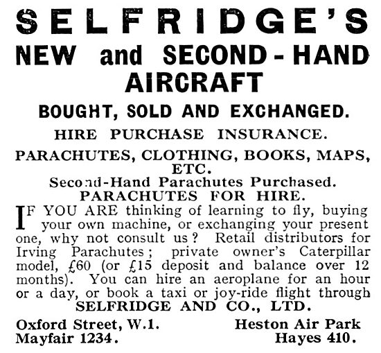 Selfridges Aviation Department 1931