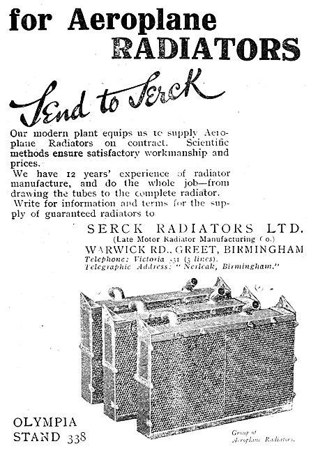 Serck Aero Engine Radiators 1919 Advert