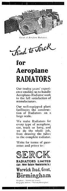 Serck Aeroplane Radiators 1919