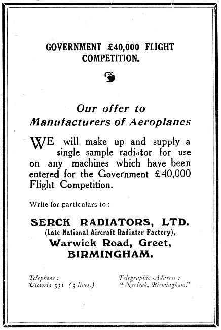 Serck Radiators 1919  (Late National Aircraft Radiator Factory)