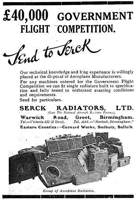 Serck Aero Engine Radiators. 1920 Advert