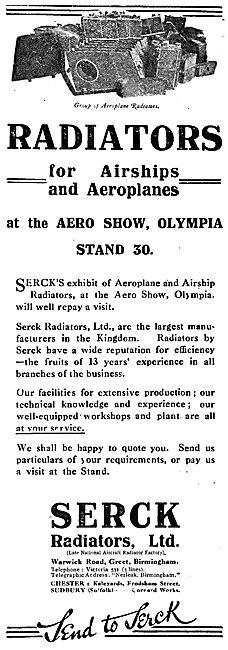 Serck Radiators For Airships & Aeroplanes. 1920