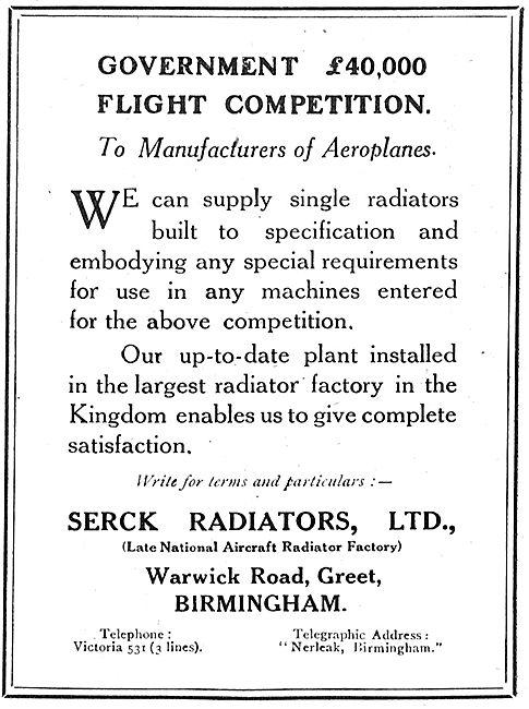 Serck Radiators - Re Government £40,000 Flight Competition