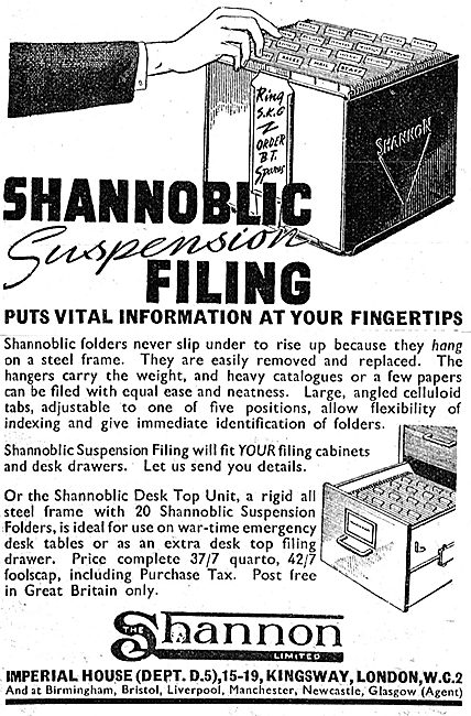 Shannon Shannoblic Suspension Filing System 1942
