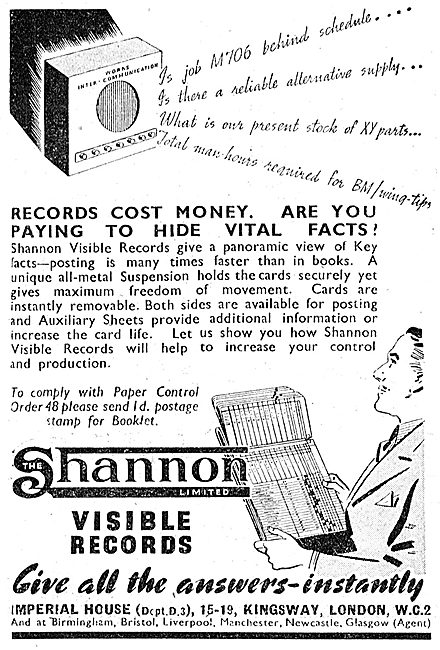Shannon Visible Records Fling & Accounting Systems 1943