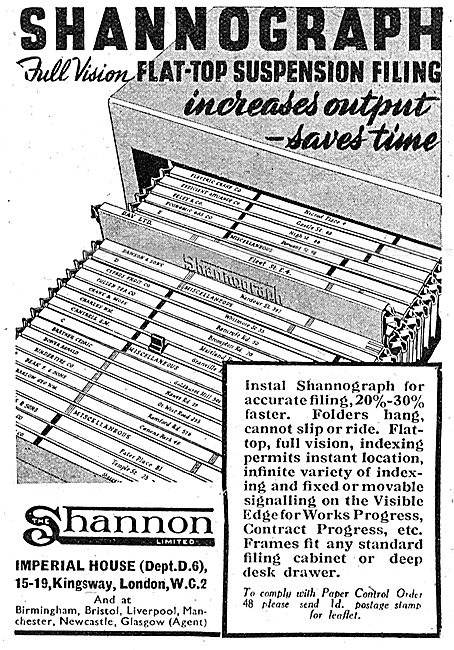 Shannon Visible Records  - Shannograph Suspension Filing System