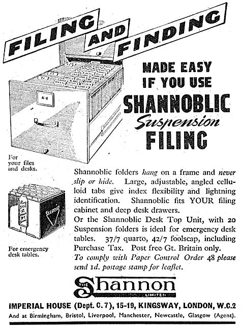 Shannon Visible Records. Shannoblic Suspension Filing System