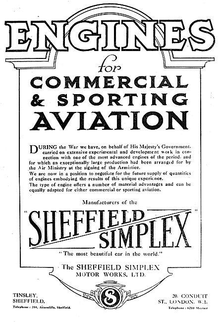 Sheffield Simplex Aero Engines & Motor Cars