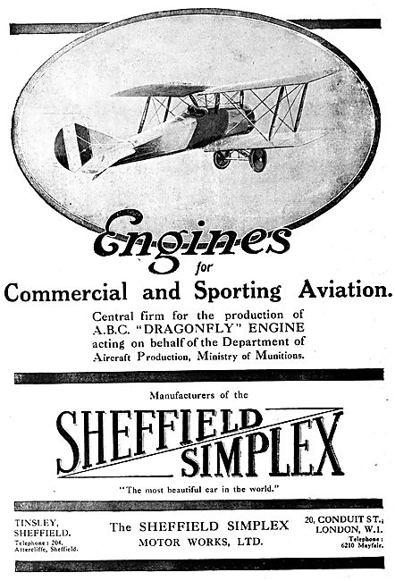 Sheffield Simplex Aircraft Engines - A.B.C.Dragonfly