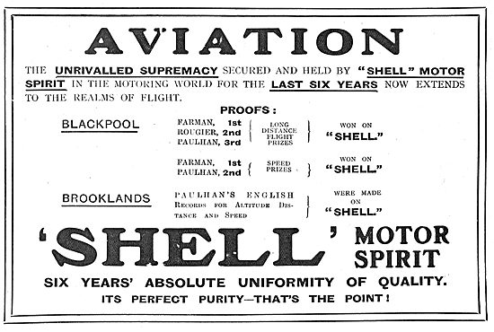 A List Of Shell's Aviation Achievements At Blockpool & Brooklands